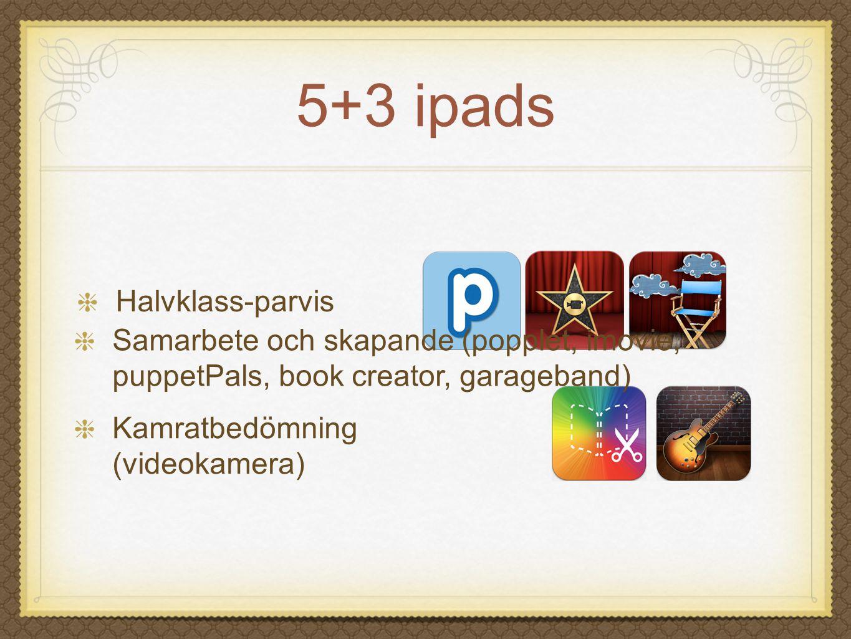 5+3 ipads Halvklass-parvis Kamratbedömning (videokamera) Samarbete och skapande (popplet, imovie, puppetPals, book creator, garageband)