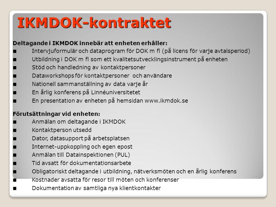 Deltagande i IKMDOK innebär att enheten erhåller: ■ Intervjuformulär och dataprogram för DOK m fl (på licens för varje avtalsperiod) ■ Utbildning i DO