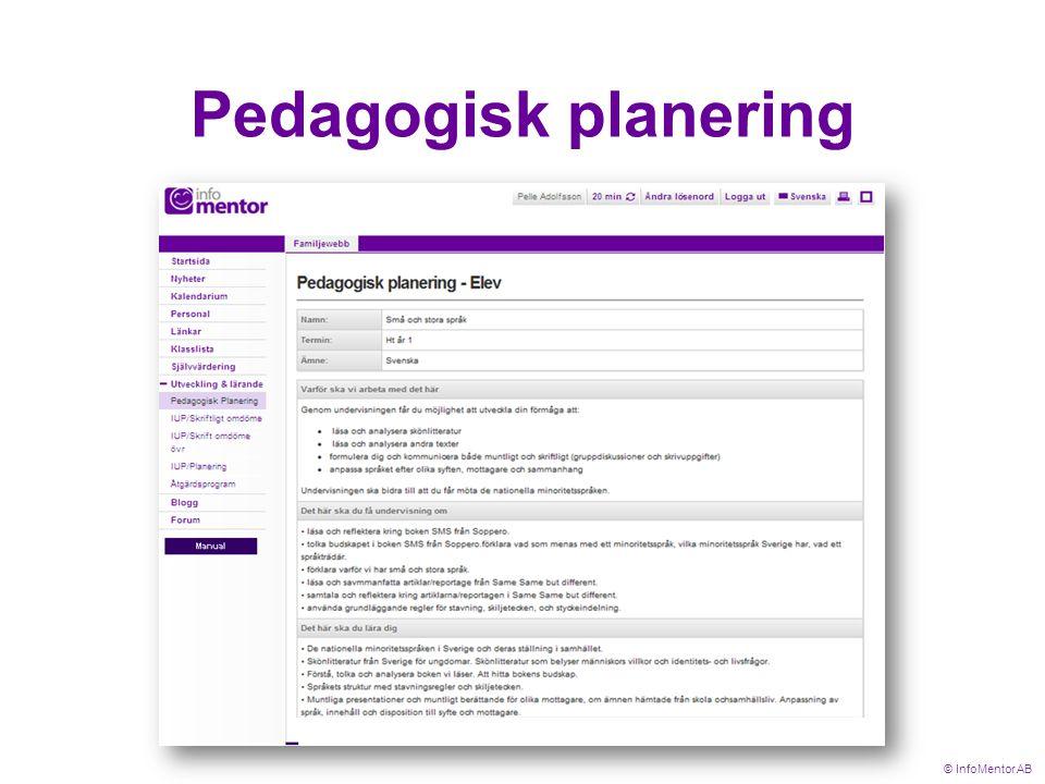 Pedagogisk planering © InfoMentor AB