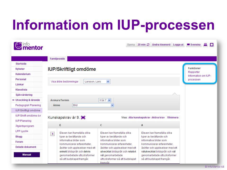 Information om IUP-processen © InfoMentor AB