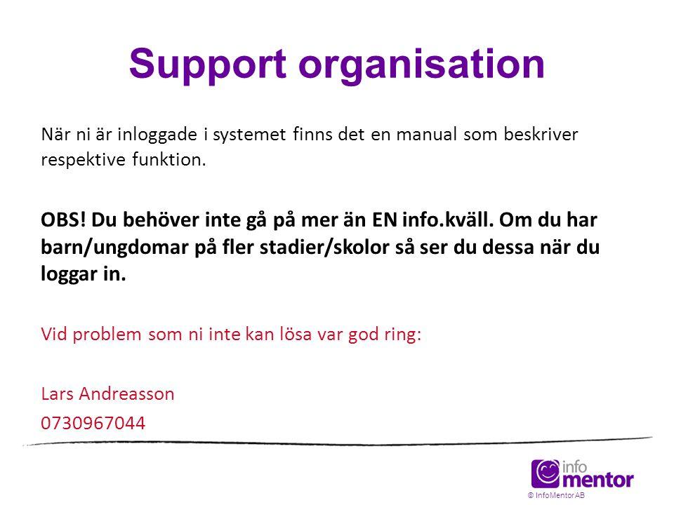 Support organisation När ni är inloggade i systemet finns det en manual som beskriver respektive funktion. OBS! Du behöver inte gå på mer än EN info.k