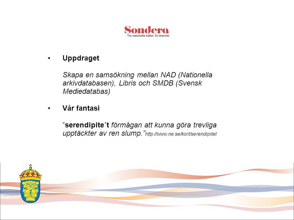 •Uppdraget Skapa en samsökning mellan NAD (Nationella arkivdatabasen), Libris och SMDB (Svensk Mediedatabas) •Vår fantasi serendipite´t förmågan att kunna göra trevliga upptäckter av ren slump. http://www.ne.se/kort/serendipitet