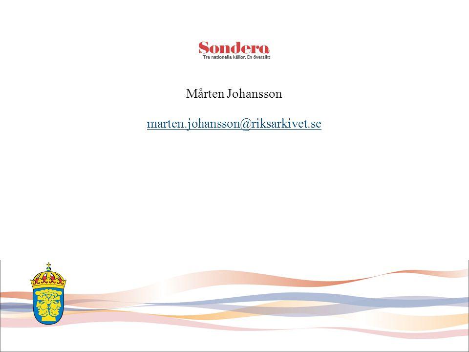 Mårten Johansson marten.johansson@riksarkivet.se