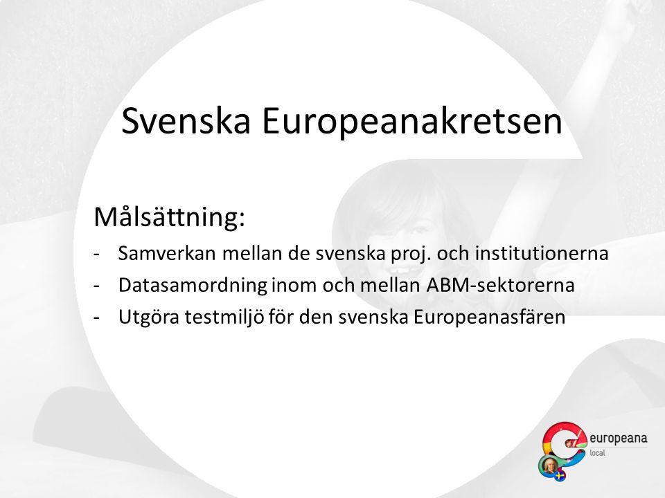 Svenska Europeanakretsen Målsättning: -Samverkan mellan de svenska proj.