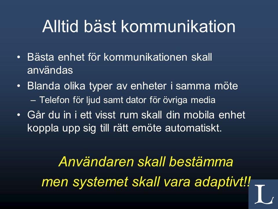 Alltid bäst kommunikation •Bästa enhet för kommunikationen skall användas •Blanda olika typer av enheter i samma möte –Telefon för ljud samt dator för övriga media •Går du in i ett visst rum skall din mobila enhet koppla upp sig till rätt emöte automatiskt.