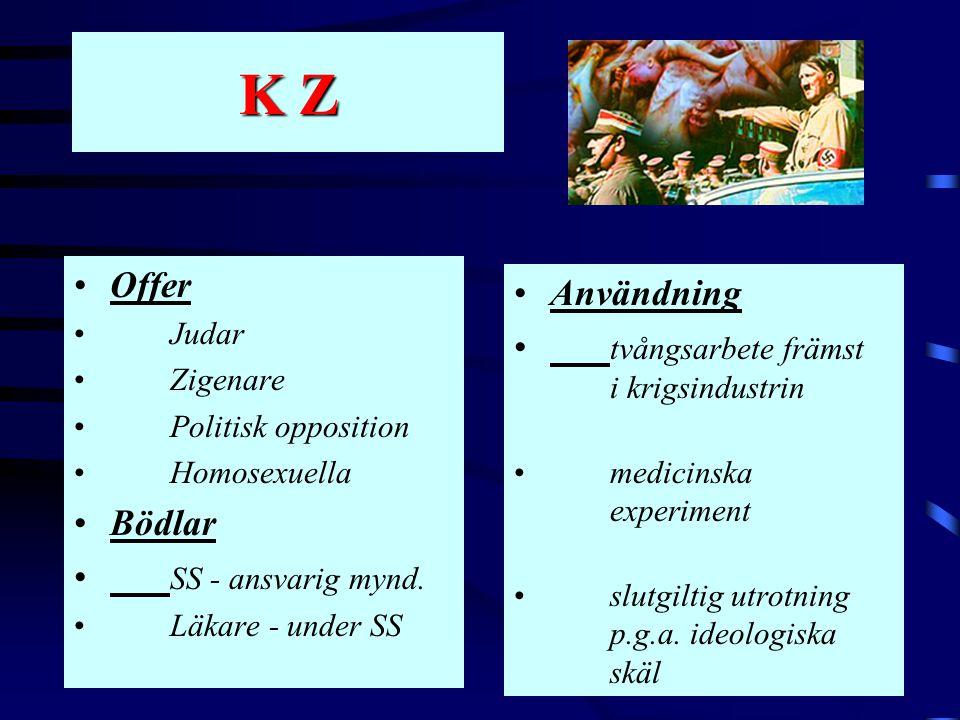 K Z •Offer • Judar •Zigenare •Politisk opposition •Homosexuella •Bödlar • SS - ansvarig mynd. •Läkare - under SS •Användning • tvångsarbete främst i k