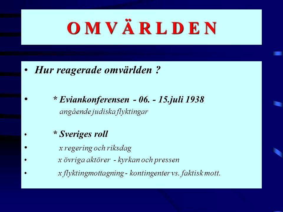 O M V Ä R L D E N •Hur reagerade omvärlden ? • * Eviankonferensen - 06. - 15.juli 1938 angående judiska flyktingar • * Sveriges roll • x regering och