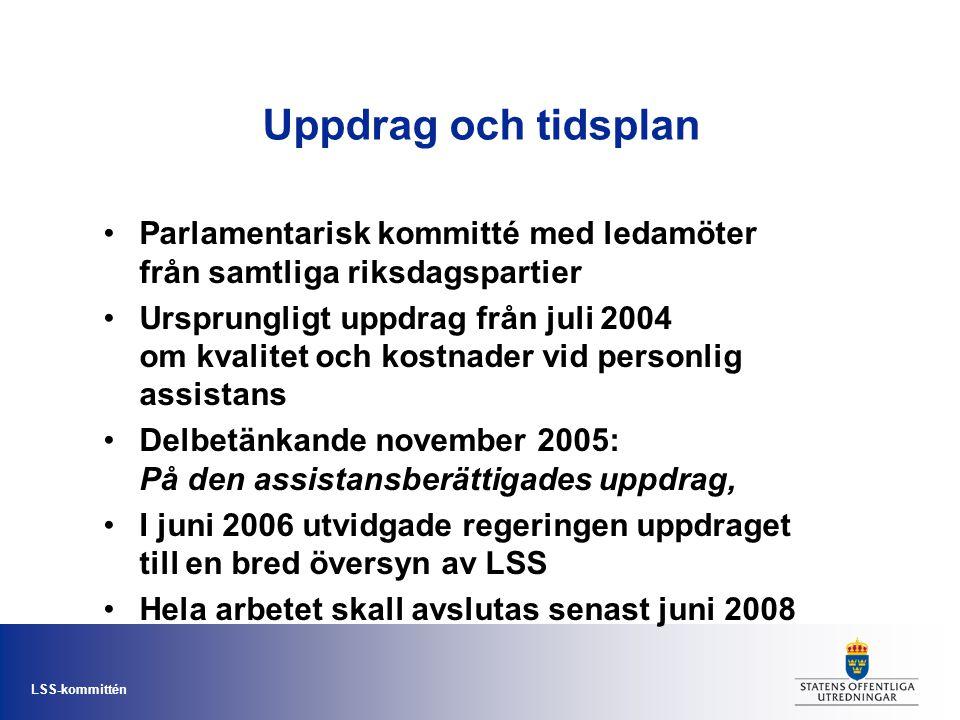 LSS-kommittén Uppdrag och tidsplan • Parlamentarisk kommitté med ledamöter från samtliga riksdagspartier • Ursprungligt uppdrag från juli 2004 om kval