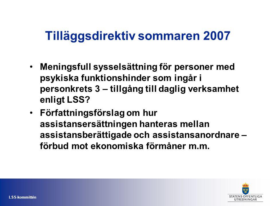 LSS-kommittén Tilläggsdirektiv sommaren 2007 •Meningsfull sysselsättning för personer med psykiska funktionshinder som ingår i personkrets 3 – tillgån