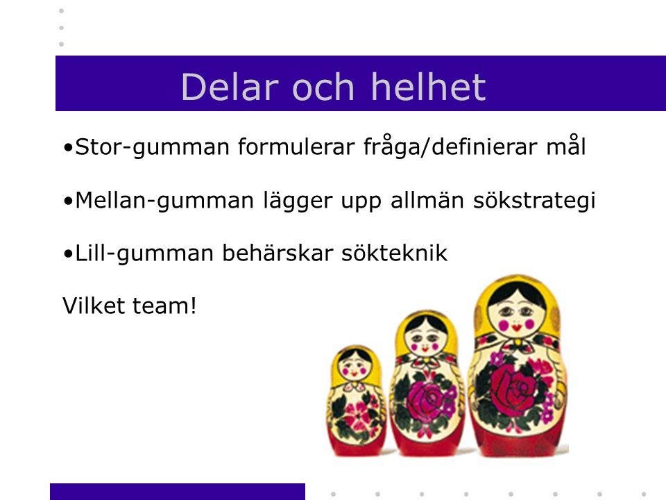 Delar och helhet •Stor-gumman formulerar fråga/definierar mål •Mellan-gumman lägger upp allmän sökstrategi •Lill-gumman behärskar sökteknik Vilket team!