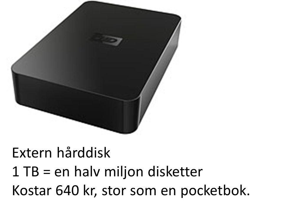 Extern hårddisk 1 TB = en halv miljon disketter Kostar 640 kr, stor som en pocketbok.