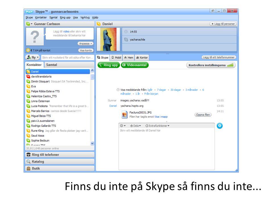 Finns du inte på Skype så finns du inte...