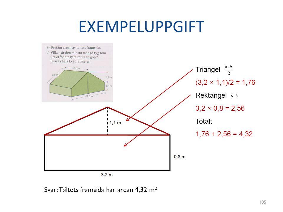 EXEMPELUPPGIFT 105 3,2 × 0,8 = 2,56 (3,2 × 1,1)/2 = 1,76 1,76 + 2,56 = 4,32 Triangel Rektangel Totalt Svar: Tältets framsida har arean 4,32 m²