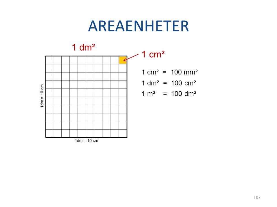 AREAENHETER 107 1 dm² 1 cm² 1 dm² = 100 cm² 1 cm² = 100 mm² 1 m² = 100 dm²