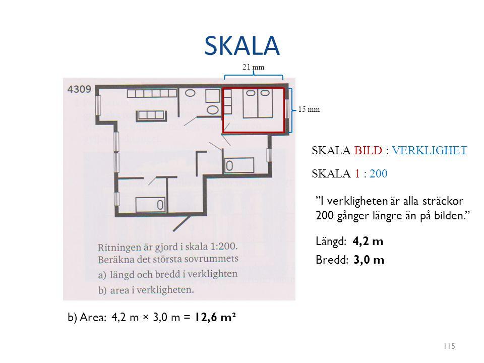 """SKALA 115 SKALA BILD : VERKLIGHET SKALA 1 : 200 """"I verkligheten är alla sträckor 200 gånger längre än på bilden."""" 21 mm 15 mm Längd: 4,2 m Bredd: 3,0"""