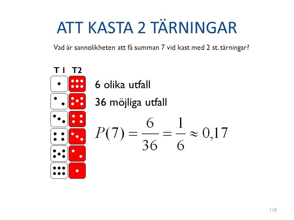 ATT KASTA 2 TÄRNINGAR 118 T 1 T2 Vad är sannolikheten att få summan 7 vid kast med 2 st. tärningar? 6 olika utfall 36 möjliga utfall