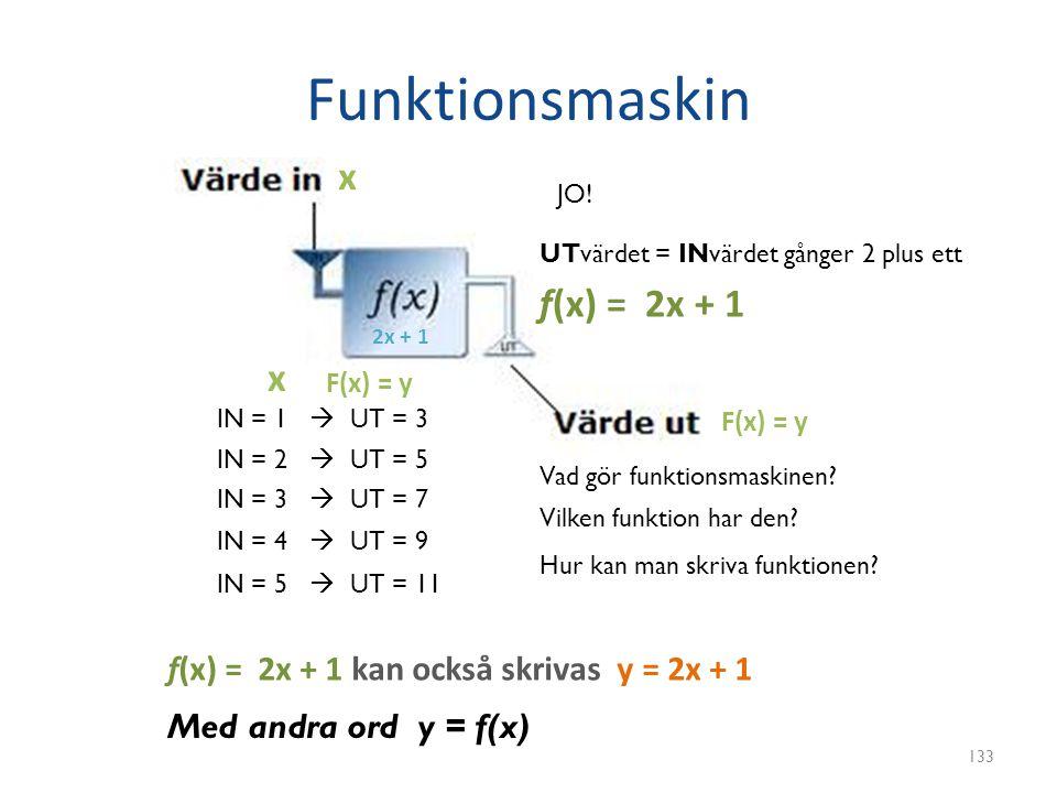 Funktionsmaskin 133 IN = 1  UT = 3 IN = 2  UT = 5 IN = 3  UT = 7 IN = 4  UT = 9 IN = 5  UT = 11 Vad gör funktionsmaskinen? Vilken funktion har de