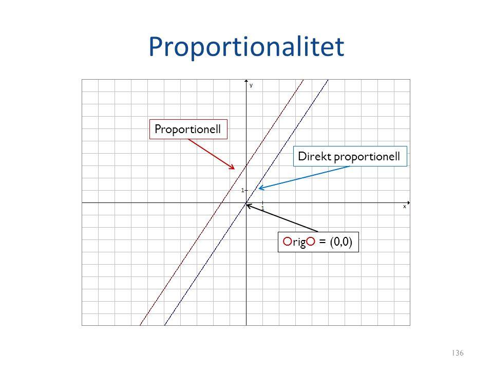 Proportionalitet 136 Proportionell Direkt proportionell OrigO = (0,0)