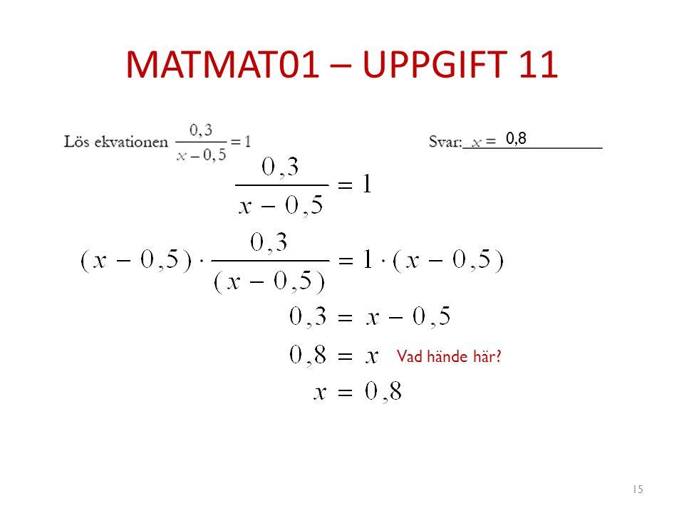 MATMAT01 – UPPGIFT 11 15 0,8 Vad hände här?