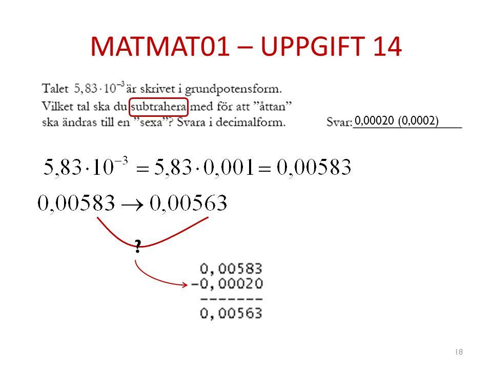 MATMAT01 – UPPGIFT 14 18 ? 0,00020 (0,0002)