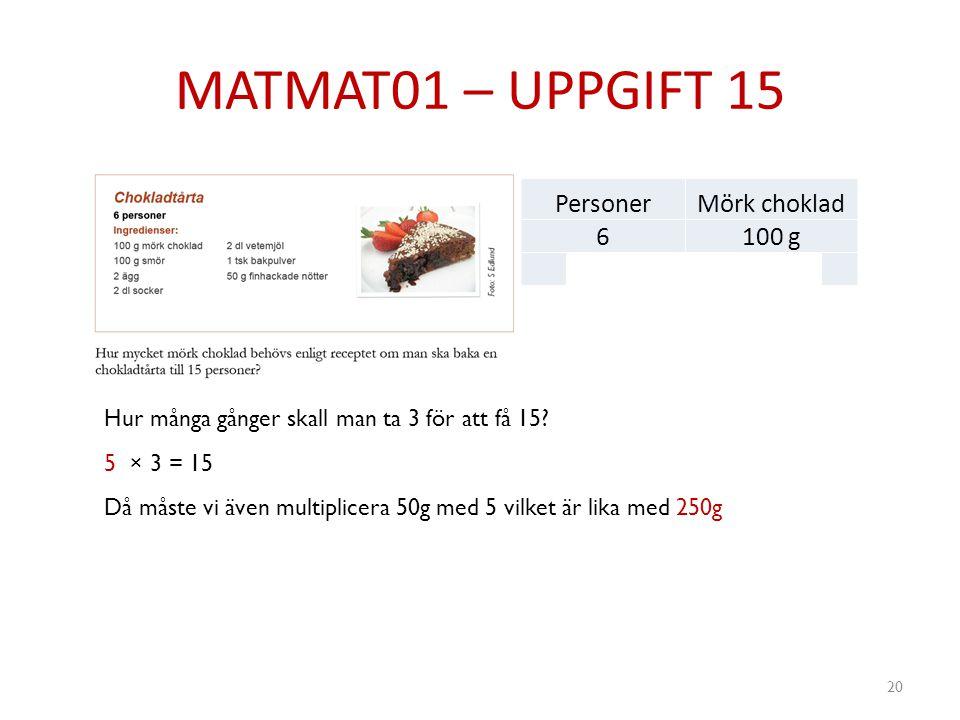 MATMAT01 – UPPGIFT 15 20 PersonerMörk choklad 6100 g 350g Hur många gånger skall man ta 3 för att få 15? 5 × 3 = 15 Då måste vi även multiplicera 50g