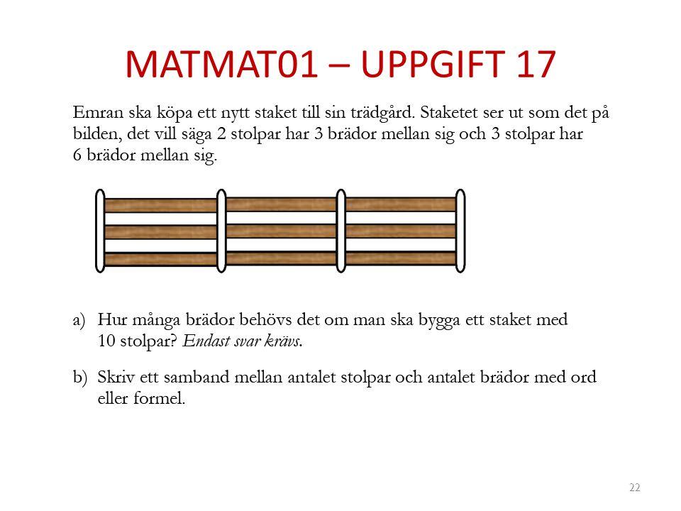 MATMAT01 – UPPGIFT 17 22