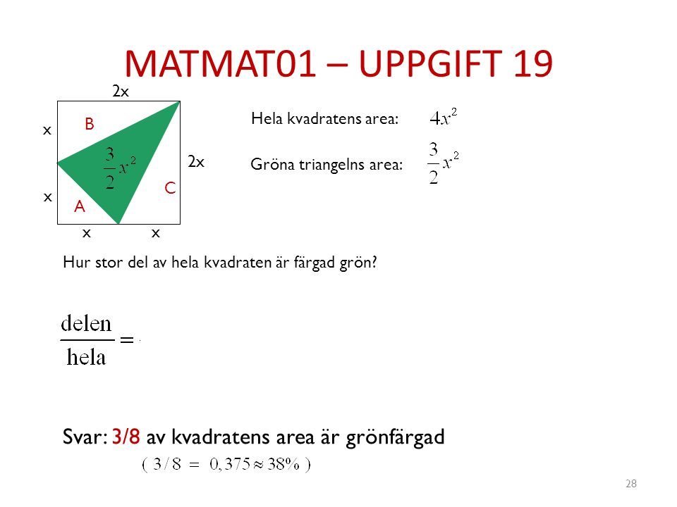 MATMAT01 – UPPGIFT 19 28 x x xx 2x A B C Hela kvadratens area: Hur stor del av hela kvadraten är färgad grön? Gröna triangelns area: Svar: 3/8 av kvad