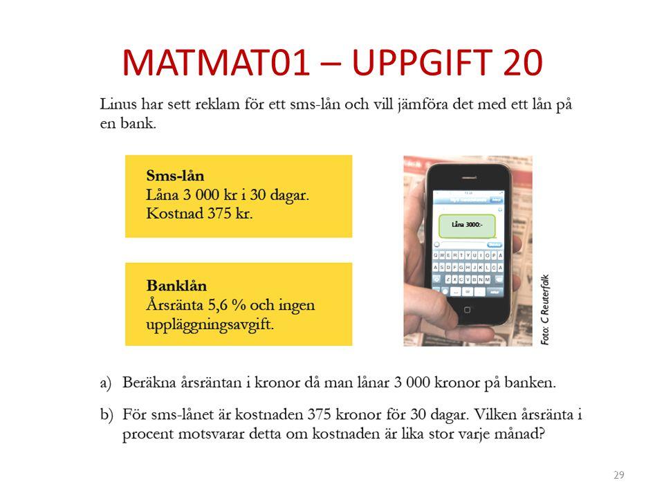 MATMAT01 – UPPGIFT 20 29