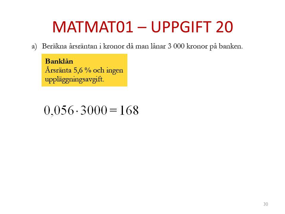 MATMAT01 – UPPGIFT 20 30