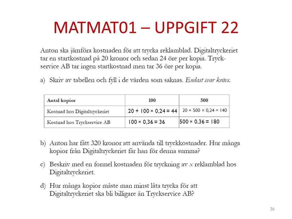 MATMAT01 – UPPGIFT 22 36 20 + 100 × 0,24 = 44 20 + 500 × 0,24 = 140 100 × 0,36 = 36 500 × 0,36 = 180