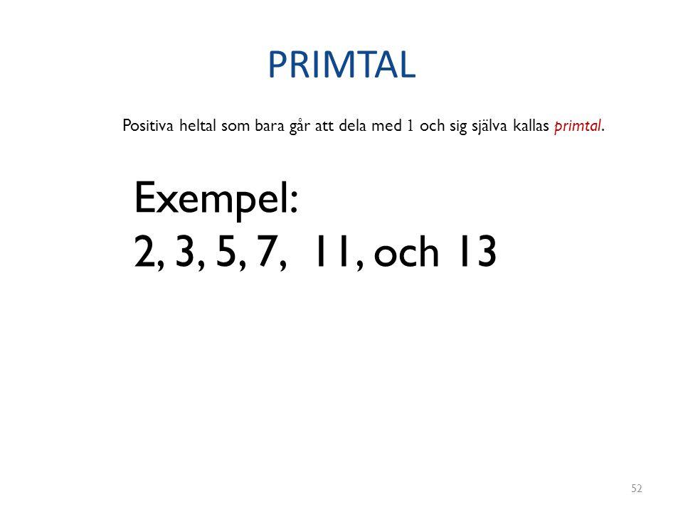 PRIMTAL 52 Positiva heltal som bara går att dela med 1 och sig själva kallas primtal. Exempel: 2, 3, 5, 7, 11, och 13