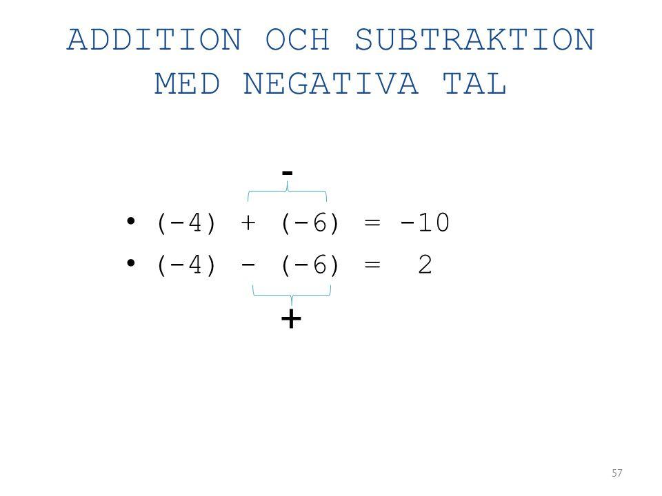 ADDITION OCH SUBTRAKTION MED NEGATIVA TAL • (-4) + (-6) = -10 • (-4) - (-6) = 2 57 + -