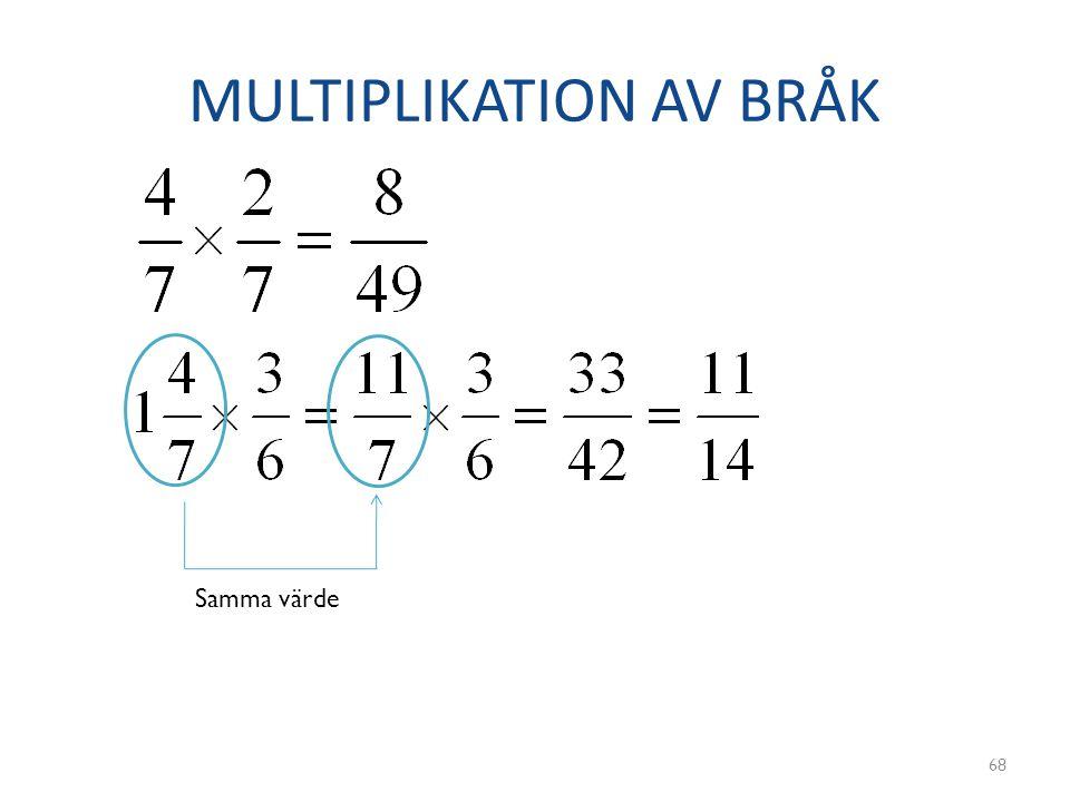 MULTIPLIKATION AV BRÅK 68 Samma värde