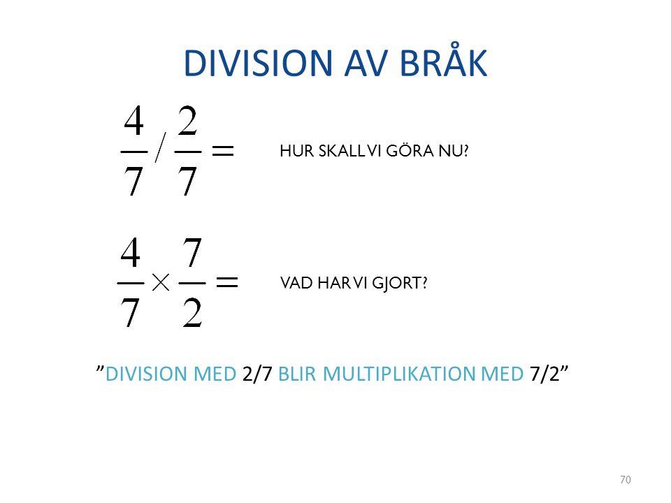 """DIVISION AV BRÅK 70 HUR SKALL VI GÖRA NU? VAD HAR VI GJORT? """"DIVISION MED 2/7 BLIR MULTIPLIKATION MED 7/2"""""""
