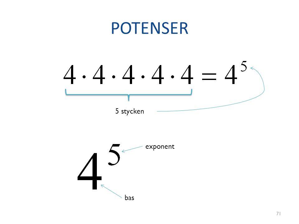 POTENSER 71 5 stycken bas exponent