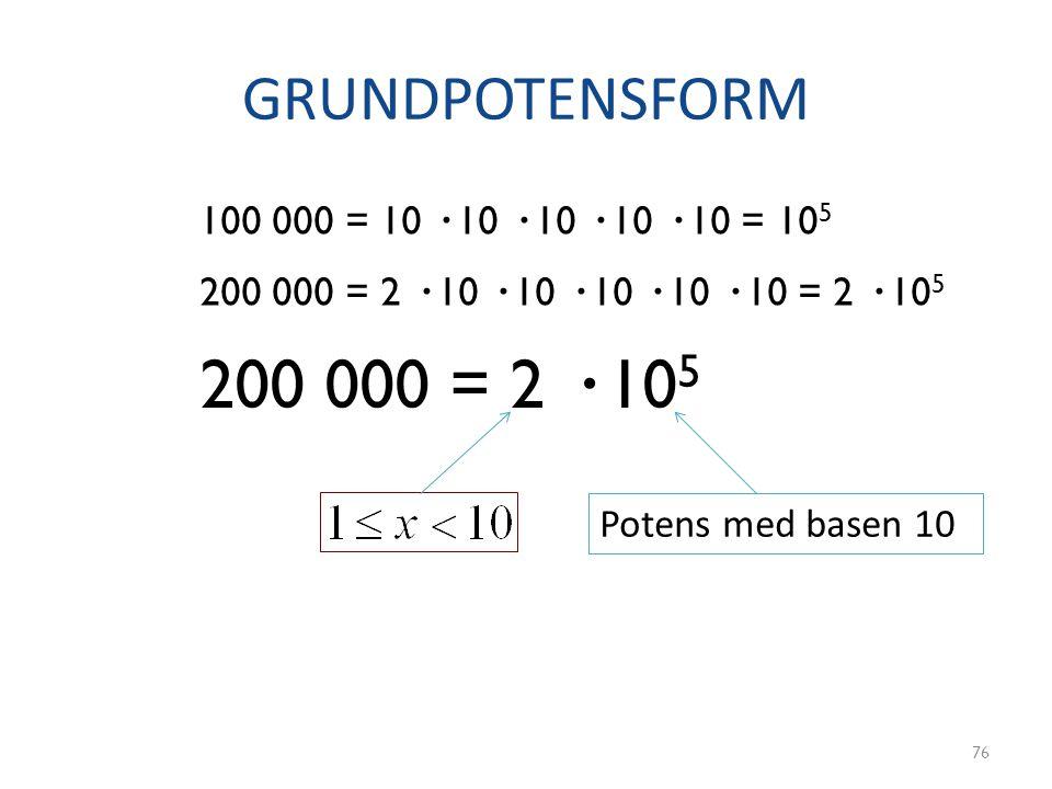 GRUNDPOTENSFORM 76 100 000 = 10 · 10 · 10 · 10 · 10 = 10 5 200 000 = 2 · 10 · 10 · 10 · 10 · 10 = 2 · 10 5 200 000 = 2 · 10 5 Potens med basen 10