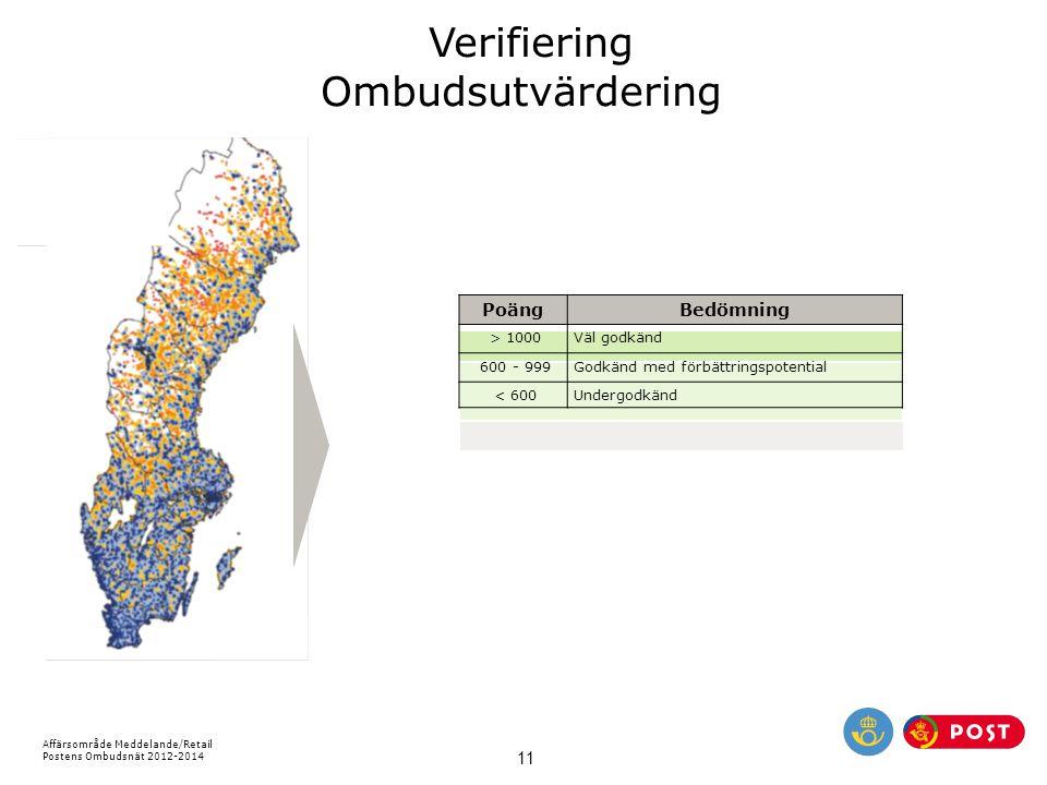 Affärsområde Meddelande/Retail Postens Ombudsnät 2012-2014 11 Verifiering Ombudsutvärdering PoängBedömning > 1000Väl godkänd 600 - 999Godkänd med förb