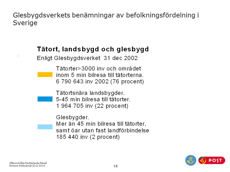 Affärsområde Meddelande/Retail Postens Ombudsnät 2012-2014 14 Glesbygdsverkets benämningar av befolkningsfördelning i Sverige