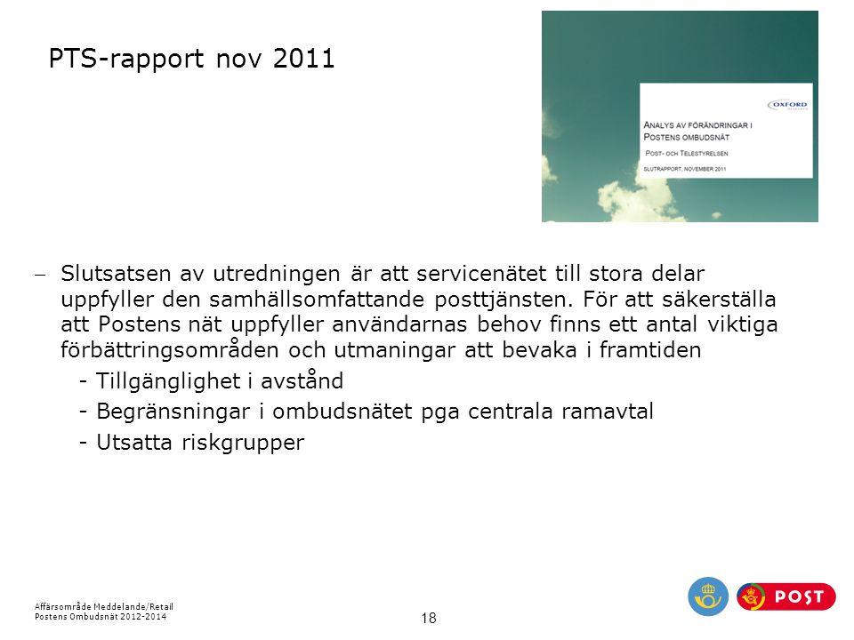 Affärsområde Meddelande/Retail Postens Ombudsnät 2012-2014 18 PTS-rapport nov 2011 Slutsatsen av utredningen är att servicenätet till stora delar upp