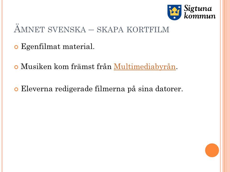 Ä MNET SVENSKA – SKAPA KORTFILM Egenfilmat material.