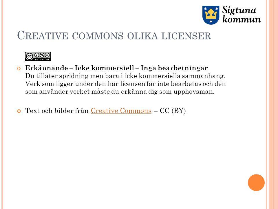 C REATIVE COMMONS OLIKA LICENSER Erkännande – Icke kommersiell – Inga bearbetningar Du tillåter spridning men bara i icke kommersiella sammanhang.