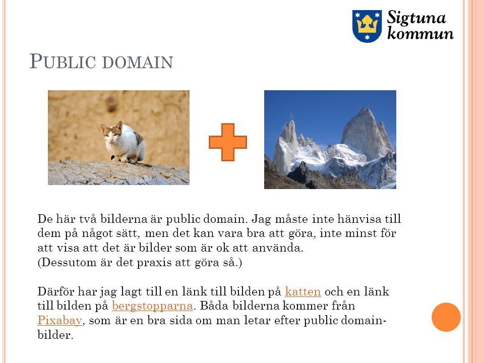 P UBLIC DOMAIN De här två bilderna är public domain.