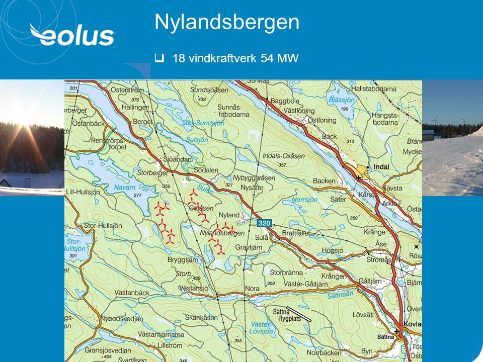 Nylandsbergen  18 vindkraftverk 54 MW