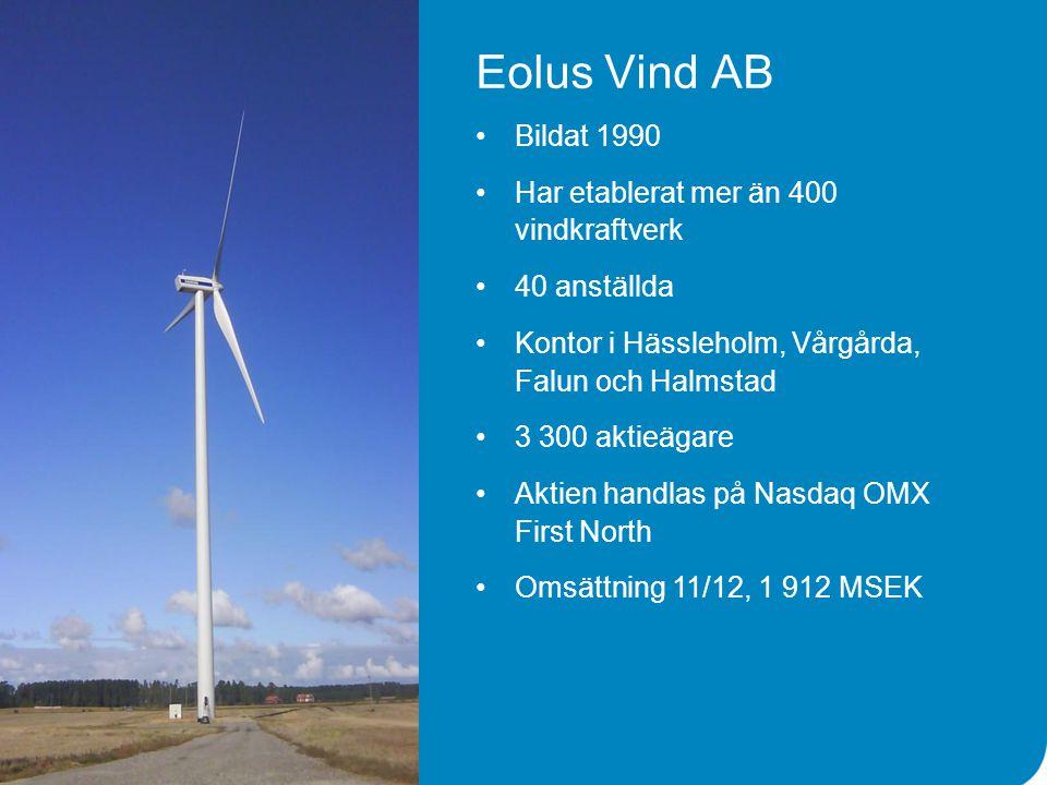 Eolus Vind AB •Bildat 1990 •Har etablerat mer än 400 vindkraftverk •40 anställda •Kontor i Hässleholm, Vårgårda, Falun och Halmstad •3 300 aktieägare