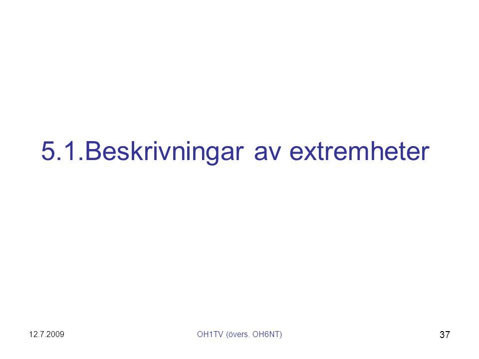 12.7.2009OH1TV (övers. OH6NT) 37 5.1.Beskrivningar av extremheter