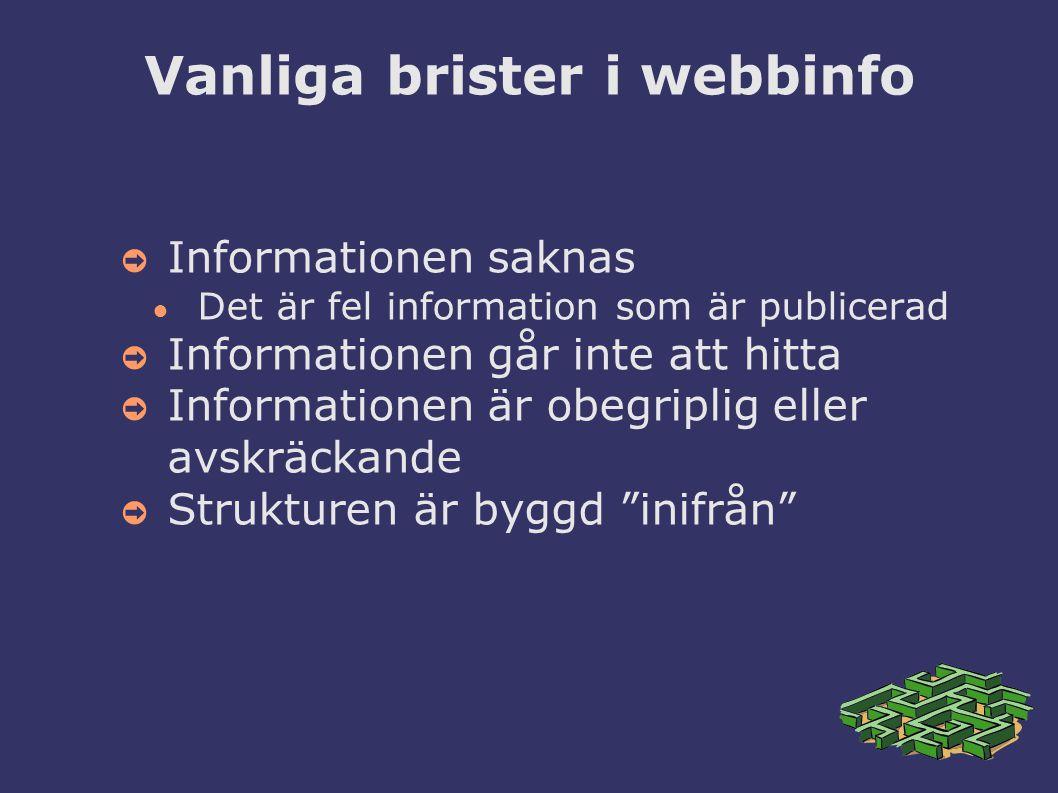 Vanliga brister i webbinfo ➲ Informationen saknas ● Det är fel information som är publicerad ➲ Informationen går inte att hitta ➲ Informationen är obegriplig eller avskräckande ➲ Strukturen är byggd inifrån