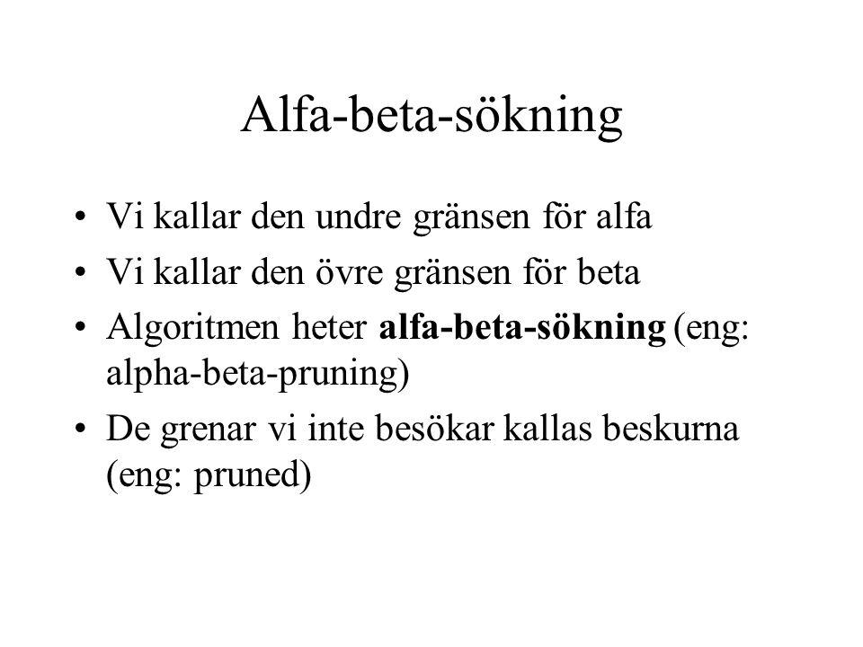Alfa-beta-sökning •Vi kallar den undre gränsen för alfa •Vi kallar den övre gränsen för beta •Algoritmen heter alfa-beta-sökning (eng: alpha-beta-prun