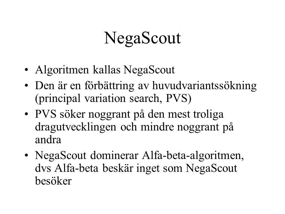 NegaScout •Algoritmen kallas NegaScout •Den är en förbättring av huvudvariantssökning (principal variation search, PVS) •PVS söker noggrant på den mes