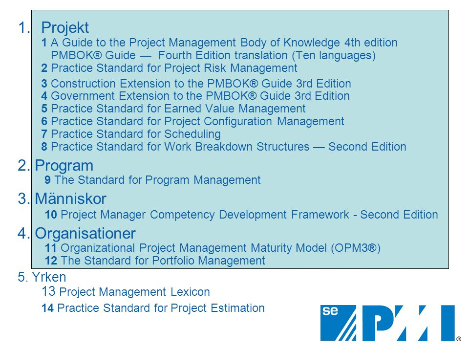 1.Projekt 1 A Guide to the Project Management Body of Knowledge 4th edition PMBOK® Guide —Fourth Edition translation (Ten languages) 2 Practice Standa