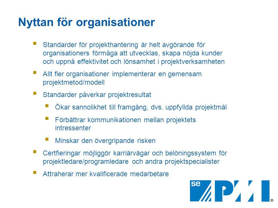 Nyttan för organisationer  Standarder för projekthantering är helt avgörande för organisationers förmåga att utvecklas, skapa nöjda kunder och uppnå